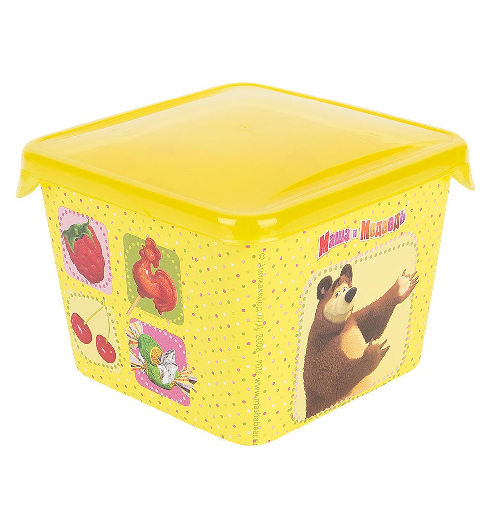 Контейнер Маша и Медведь с прозрачной крышкой, цвет: желтый