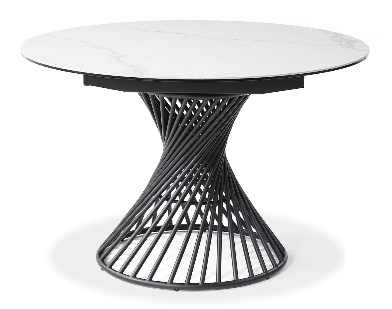 Стол раскладной Tornado, белая керамика/черный