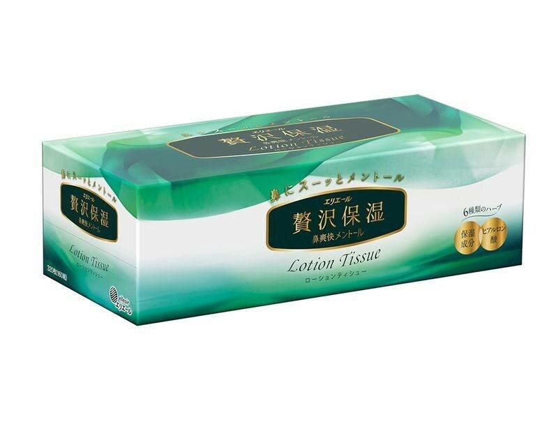 Салфетки бумажные в коробке Elleair Lotion Tissue Mentol 2 слоя 160 шт 14449
