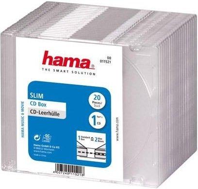 Коробка Hama H-11521 Коробки для CD дисков Slim Box 20 шт. прозрачный
