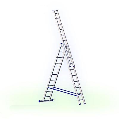 Алюминиевая трехсекционная лестница Алюмет 3х9 (арт. НЗ 5309)