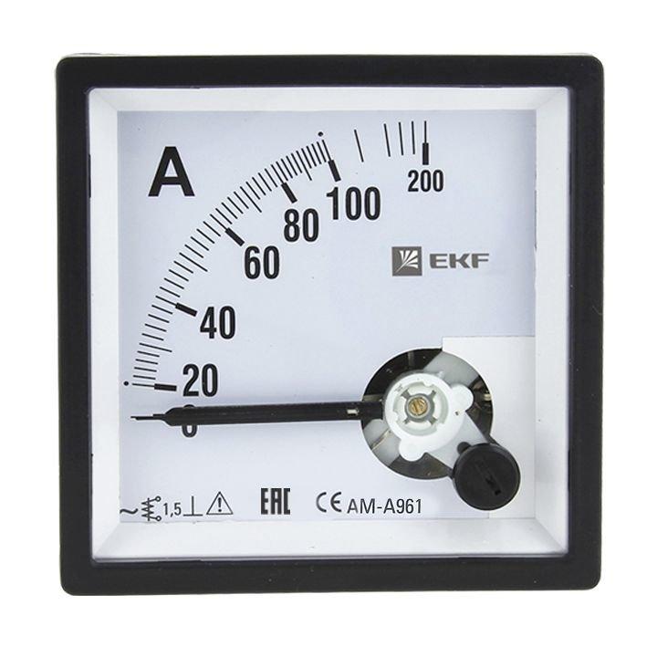 AM-A961 аналоговый на панель (96х96) квадратный вырез 10А прямое подкл. EKF