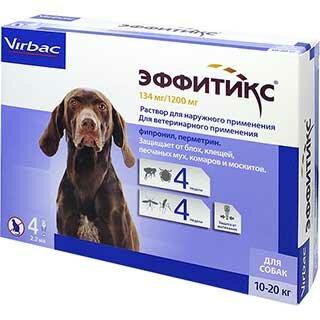 Эффитикс для собак, 10-20 кг, раствор 2.2 мл капли на холку