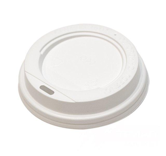 Крышка пластиковая белая D90 мм. (для стакана 300мл.) с открытым питейником (в упаковке 100 шт)