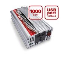 Преобразователь напряжения автомобильный AVS IN-1000W (12В > 220В, 1000 Вт, USB)