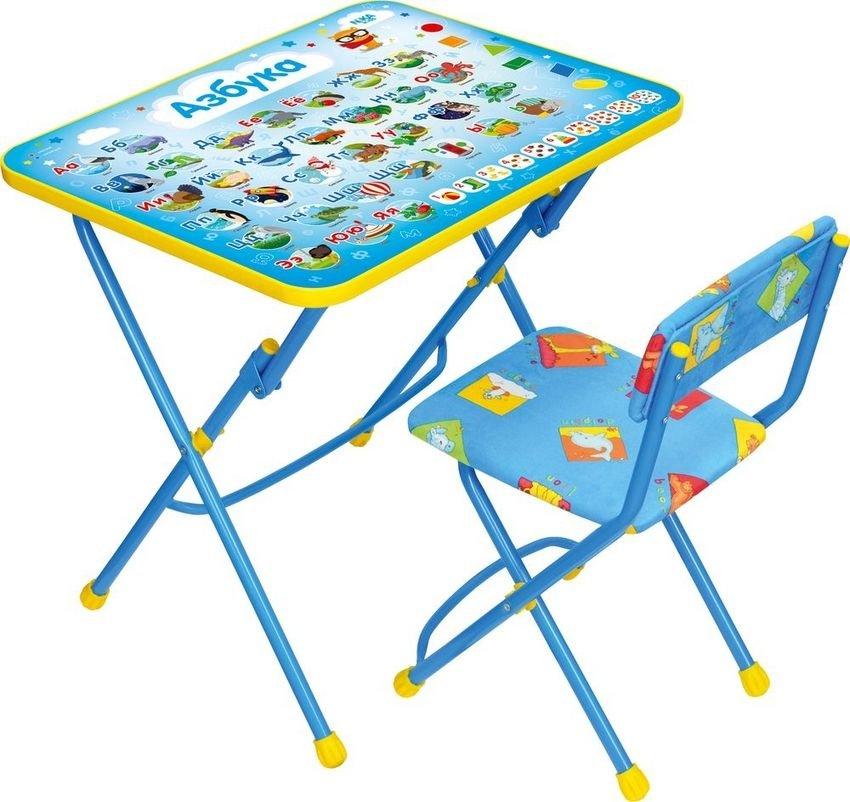 Комплект детской мебели стол и стул мягкий Азбука синий КУ1/9/КП1 Ника