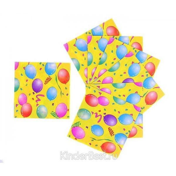 Салфетка воздушные шары с серпантином (Набор 20шт)