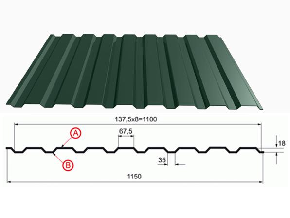 профнастил зеленый оцинкованный RAL 6005 С 20