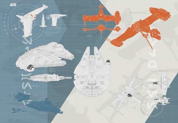 Фотообои Komar коллекция 368x254, артикул 8-4001 Star Wars Technical Plan