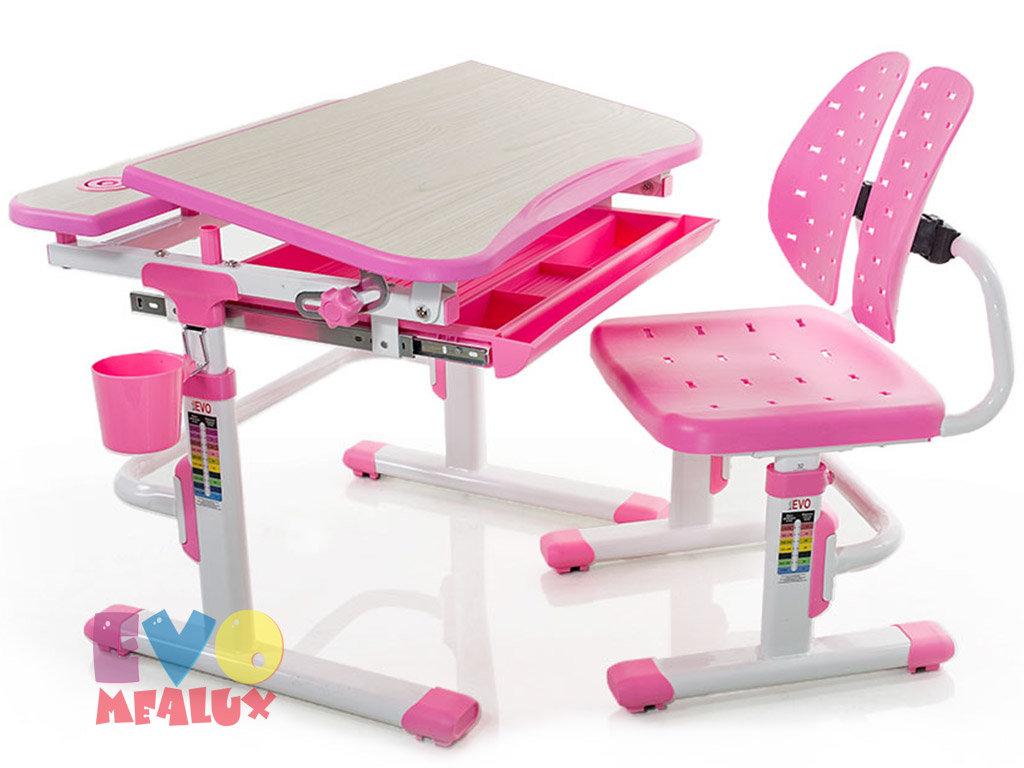Детская парта растишка Mealux EVO evo-05 столешница цвета клен / пластик розовый