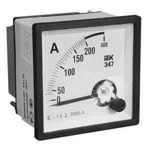 Амперметры IEK Э47 Амперметр 400/5А класс точности 1,5 72х72мм (IPA10-6-0400-E) (IPA10-6-0400-E)