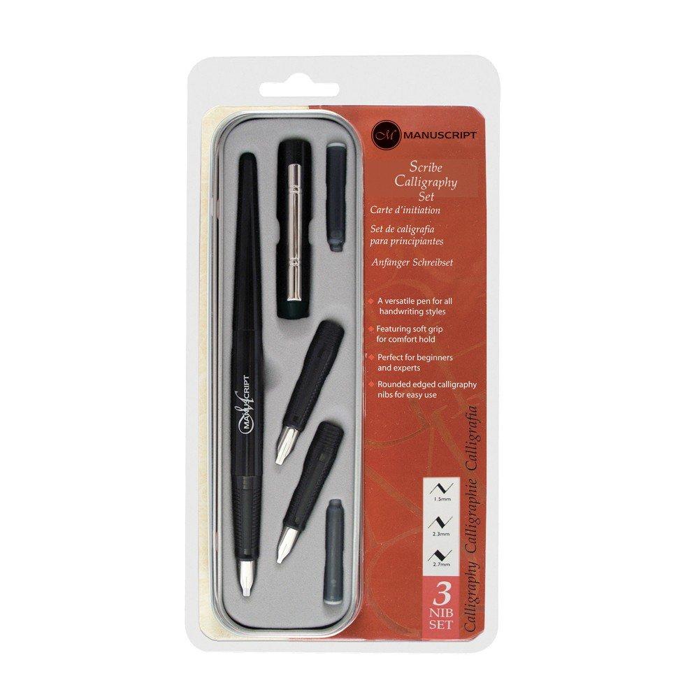 Наборы для каллиграфии Manuscript pen company Набор для каллиграфии для начинающих SCRIBE CALLIGRAPHY держатель+3 пера (1,5-2,3-2,7мм), тушь