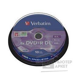 Verbatim Диски DVD+R , 8x, 8.5Gb Double Layer, 10шт, Cake Box 43666
