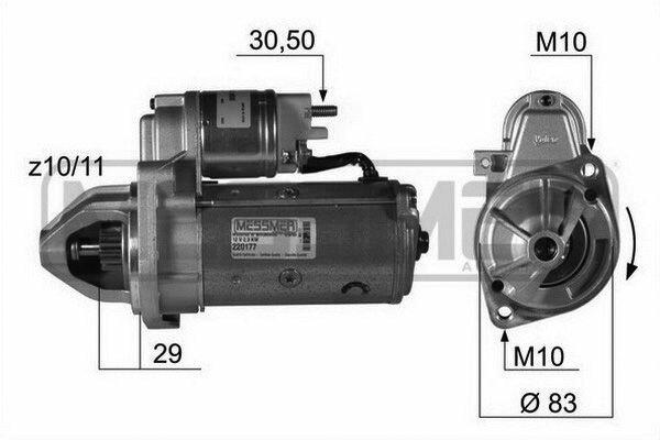 Стартер 12V 2.2KW 11T\ MB W124/W140/W202/W210/Sprinter/Viano 2.2-2.0D/3.2CDi 93 ERA 220177