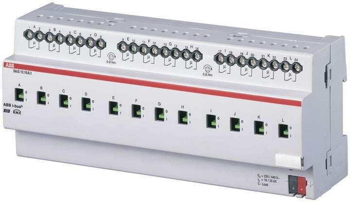 Интеллектуальные инсталляционные системы EIB/KNX SA/S12.16.6.1 Выход бинарный 12-кан., измерение тока, 16/20А ABB