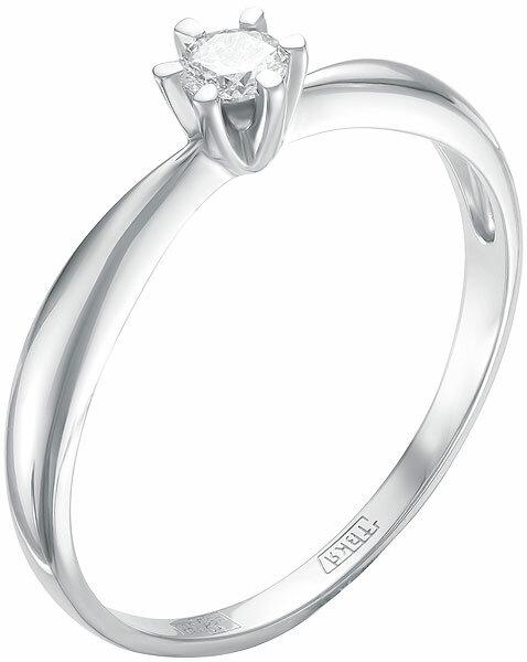 Помолвочное кольцо из белого золота Vesna jewelry 1608-251-00-00 с бриллиантом, размер 18 мм