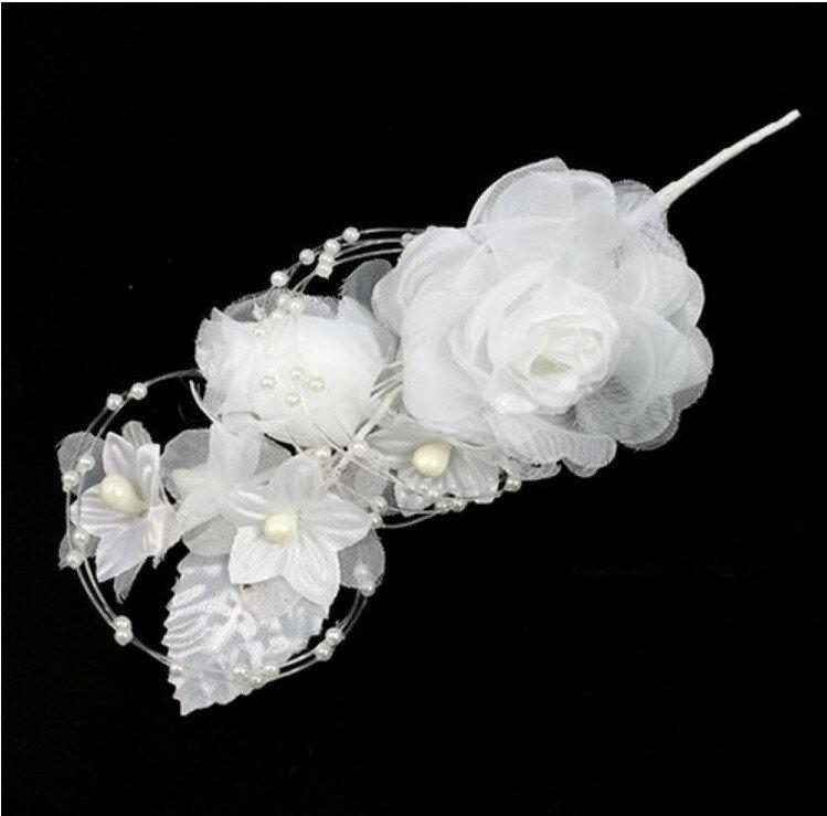 Свадебная бутоньерка, цвет: белый, 20 см, арт. HF12-41
