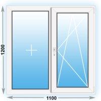 Готовое пластиковое окно Novotex двухстворчатое 1100x1200 (ШxВ)