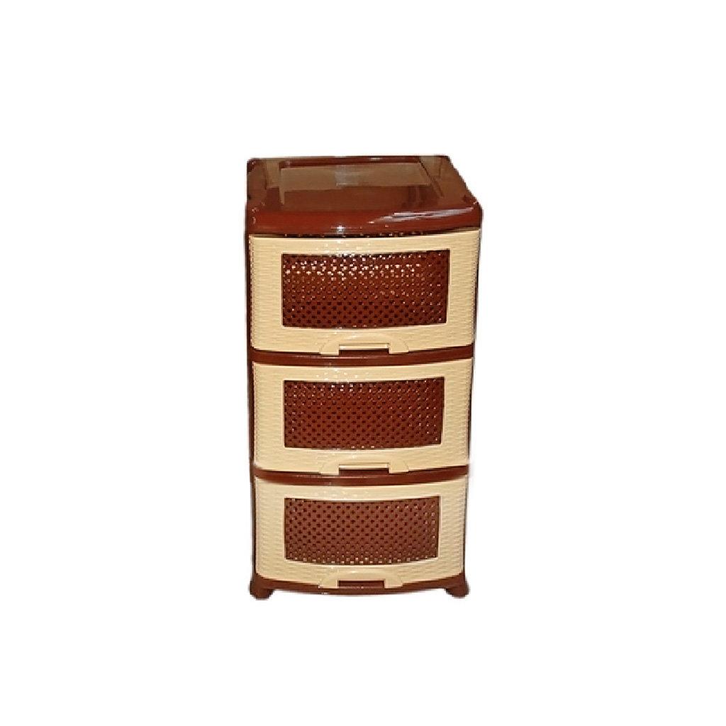 Комод 3 секции Виолет 0353 Плетенка бежево-коричневый, 47х39х75 см