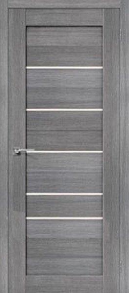 Межкомнатная дверь экошпон Porta X Порта-22 Grey Veralinga, полотно со стеклом сатинато белое