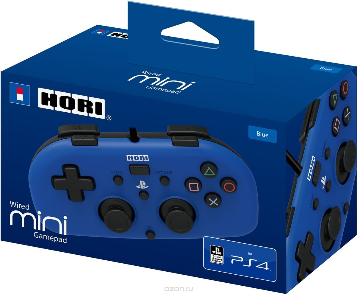 Джойстик HORI Wired MINI Gamepad Blue (PS4)
