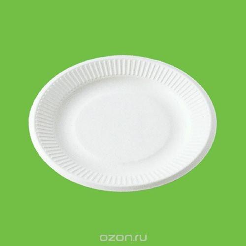 """Набор тарелок """"Gracs"""", биоразлагаемых, цвет: белый, диаметр 15,5 см, 20 шт"""