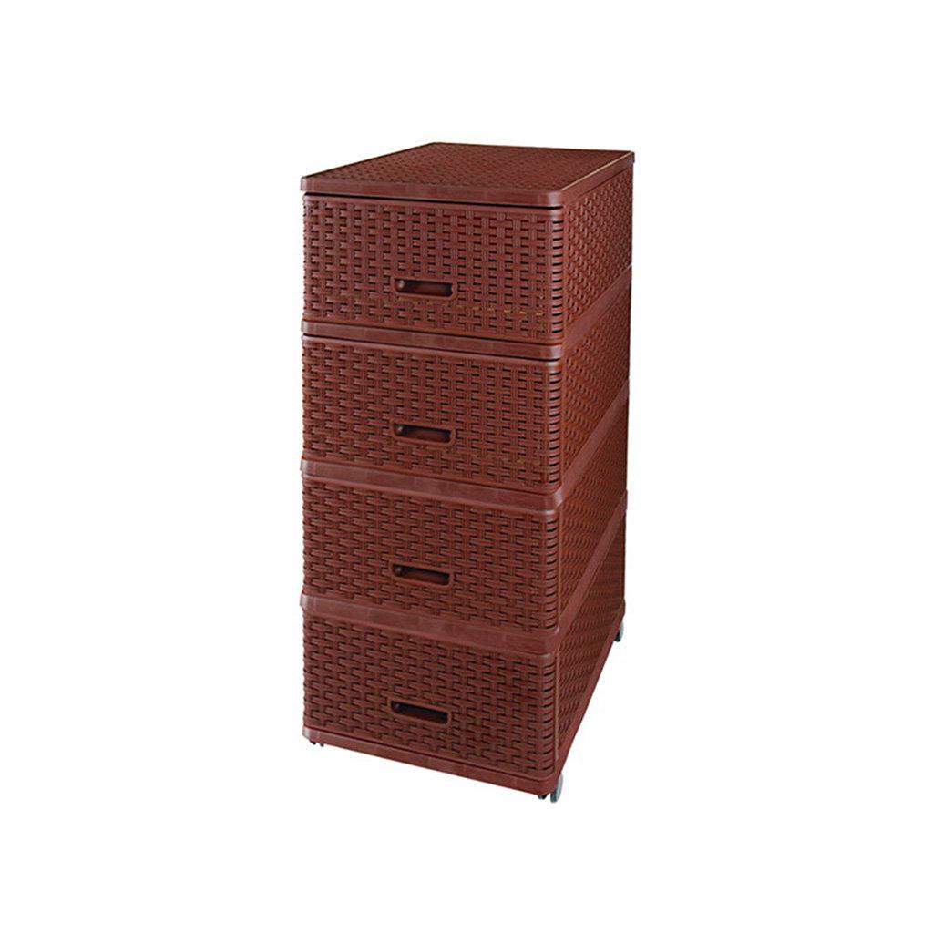 Комод 4 секции Dunya Plastik 04054 плетенный коричневый, 40х50х98 см