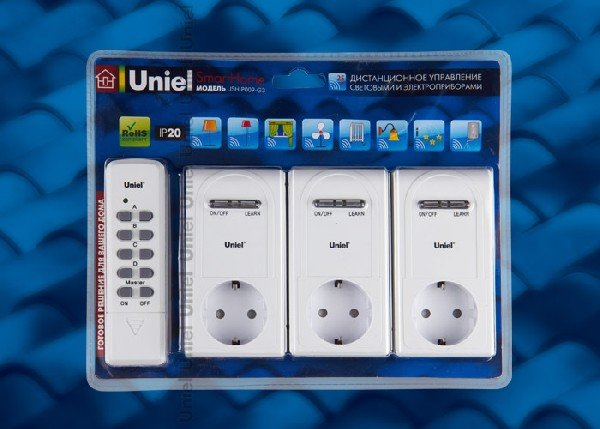 Комплект умных розеток Uniel USH-P009-G3-3600W-25M с пультом Д/У