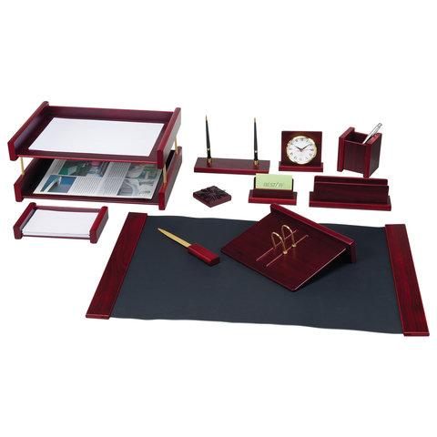 """Настольный набор для руководителя BESTAR """"Platon"""", 11 предметов, двойной лоток, красное дерево"""
