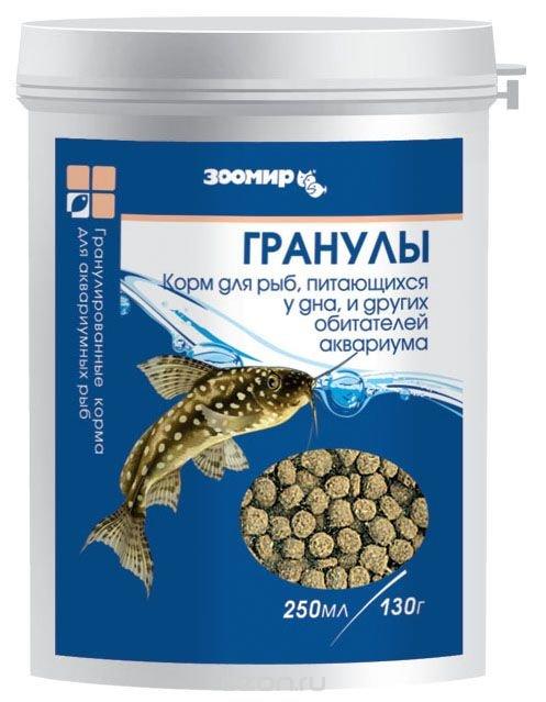 """Корм для донных рыб Зоомир """"Гранулы"""", 130 г"""