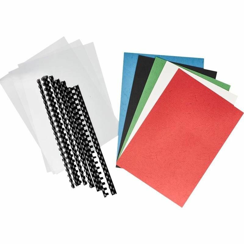 Стартовый набор для переплета ProfiOffice (пружины пластиковые, обложки пластиковые прозрачные, обложки картонные стиснением под кожу)
