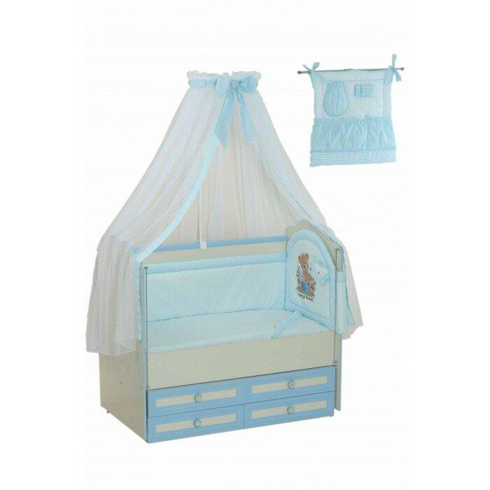 Комплект в кроватку Селена (Сдобина) для новорожденного 17 (8 предметов) Голубой