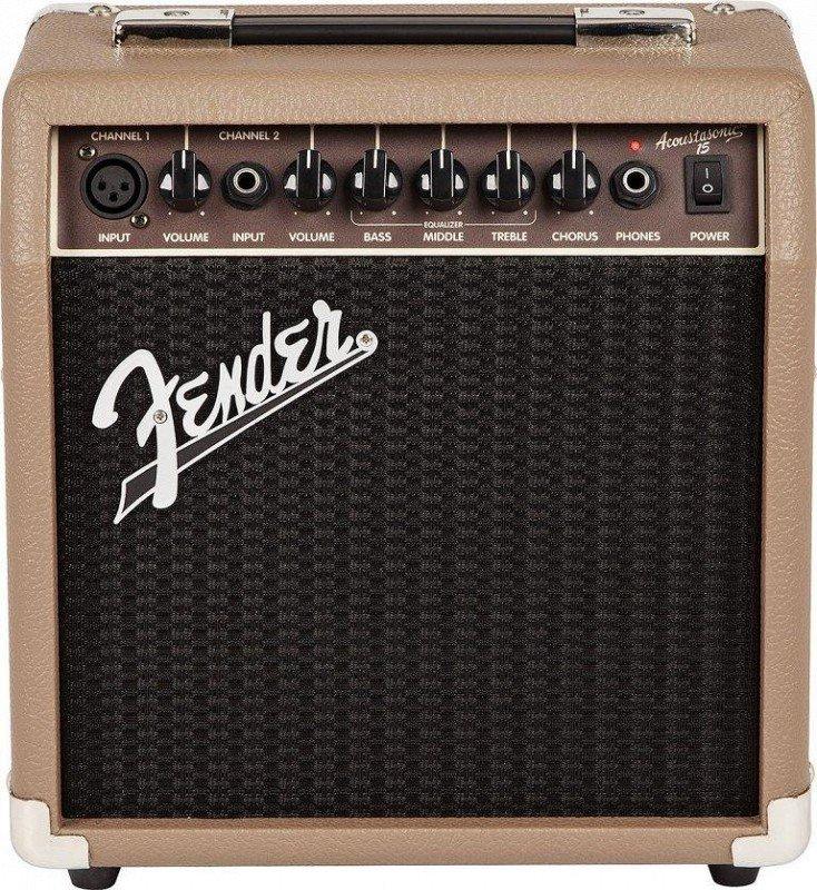 FENDER ACOUSTASONIC 15 COMBO комбоусилитель для акустической гитары, 15 Вт, 1x6`, 2 канала (инстр. и микр.)