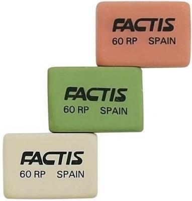 Ластик Factis мягкий из нат. каучука, 28,2х19,5х9,5 мм, цвета: роз.бел.зел.