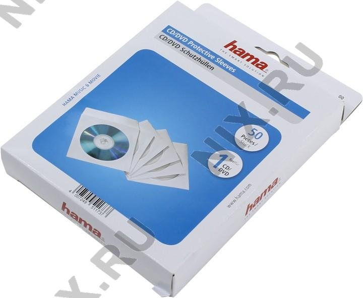Конверты для CD/DVD Hama 00051173 CD/DVD Protective Paper Sleeves, white