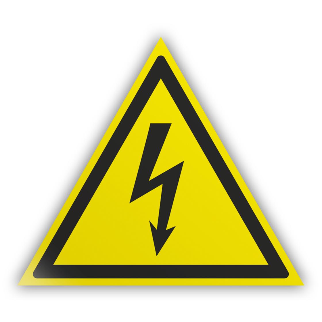 Знак на пленке W08 «Внимание! опасность поражения электрическим током» (самоклеящаяся наклейка, сторона 50 мм)