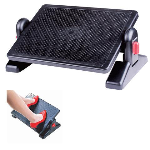 Подставка для ног BRAUBERG офисная, 41,5*30см, с фиксаторами, регулируемая высота, черная, 531487