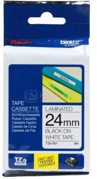 Лента для печати наклеек Brother TZe-251 ламинированная 24 мм, Черный текст на белом фоне TZE251