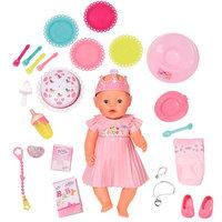 Интерактивная игрушка Zapf Creation Baby born 825-129 Бэби Борн Кукла Интерактивная Нарядная с тортом, 43 см