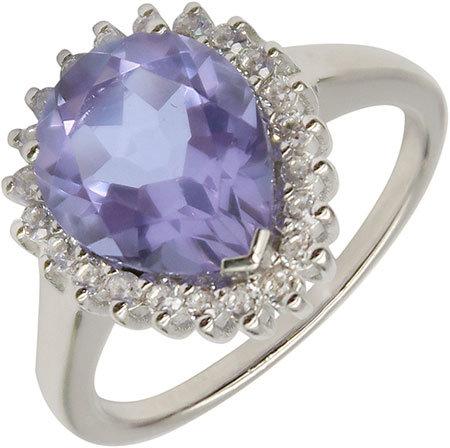 Серебряное кольцо Митра Ювелир R-1044-IAR с искусственным алекситом, фианитами, размер 17,5 мм