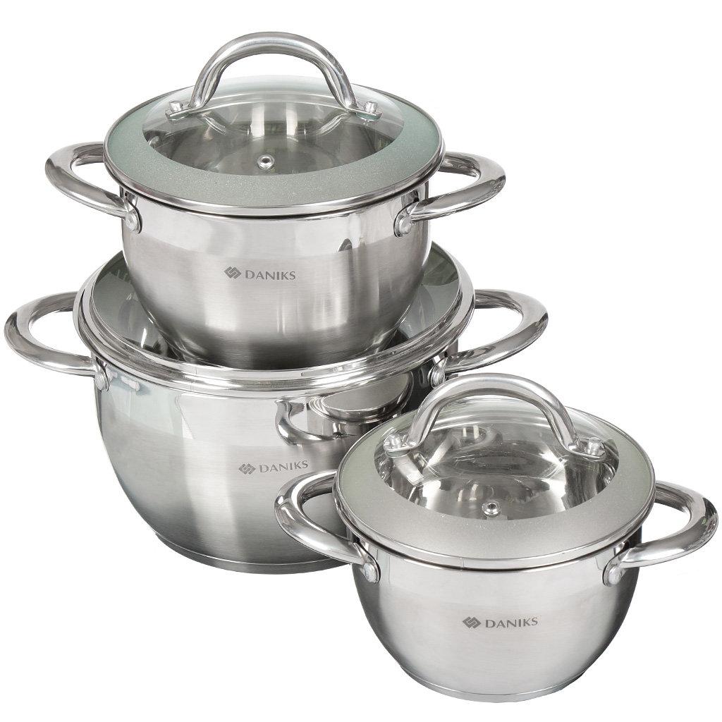 Набор посуды из нержавеющей стали Daniks SD-331 (кастрюли 2+3+4.75 л), 3 предмета