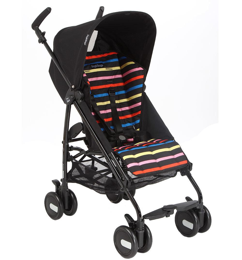 Коляска-трость Peg-Perego Pliko Mini, цвет: черный/цветная полоска