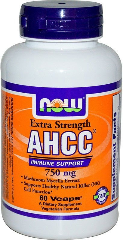 Now Экстракт грибного мицелия AHCC Extra Strength 750 мг 60 капсул NOW
