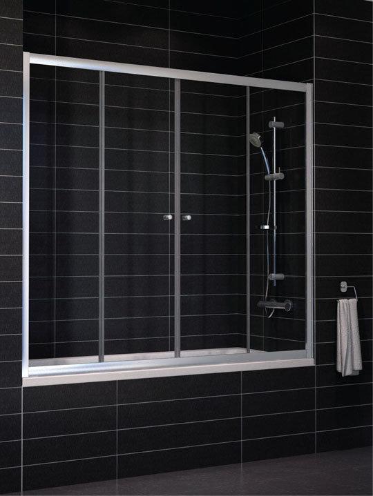 Шторка на ванну Vegas Zeus 2V 170 профиль глянцевый хром стекло сатин