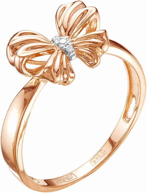 Золотое кольцо Vesna jewelry 1452-151-01-00 с бриллиантами, размер 17 мм