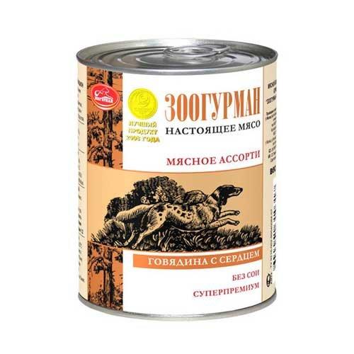 Корм для собак Зоогурман Мясное ассорти говядина, сердце конс. 350г
