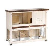 FERPLAST Клетка RANCH 100 BASIC для содержания кроликов на улице, деревянная (бело-коричневая) ...