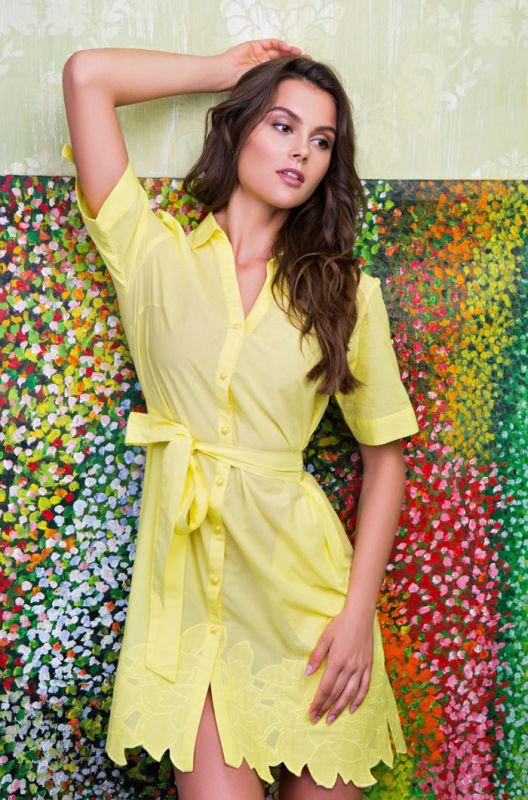 Желтое летнее хлопковое платье Mia-Mia на поясе