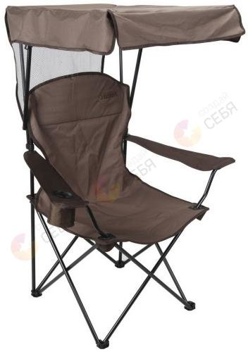 Mifine Кресло туристическое складное с навесом и подстаканником, цвет: зеленый