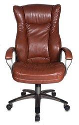 Кресло руководителя БЮРОКРАТ CH-879, на колесиках, искусственная кожа, коричневый [ch-879dg/brown]